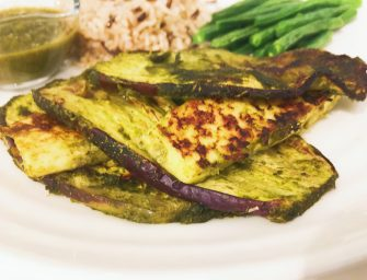 Grilled Aubergine with Homemade Bombay Sauce