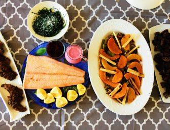 Easy Buffet Menu – Lamb Leg Steaks-Baked Salmon-Roasted Vegetables-Fruit Salad with Ice Cream