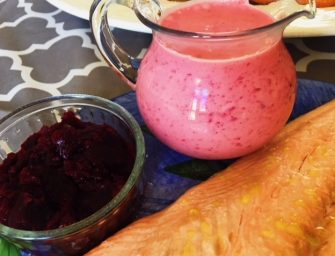 Baked Salmon with Beetroot, Gin and Yogurt Sauce and a Quick No Cook Beetroot Gin Chutney