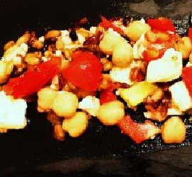 Chickpea Halloumi Peppadew Chopped Salad with a Honey Lemon Dressing